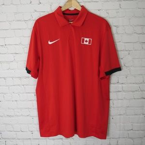 Nike Polo Golf Shirt Mens Large L Red Canada Flag